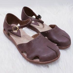 Dansko brown leather ankle strap clog sandal